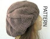 Knitting  hat pattern- Hat Digital  Knitting PATTERN PDF - Instant Download Seed Stitche Beret  Pattern   French Beret womens hat