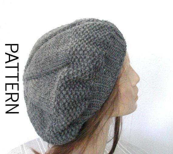 Purl Beret Knitting Pattern : Beret Knitting Pattern Instant download Knitting Pattern