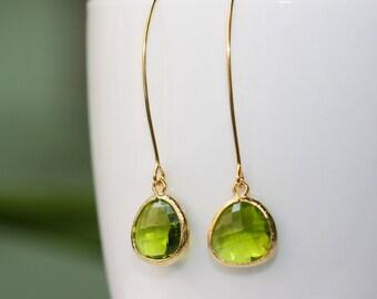 Green Apple Glass Elegant Long Earrings, Bridal Jewelry, Bridal Shop, Weddings, Bright Colors, Fashion Jewelry, Green Earrings, Summer Trend