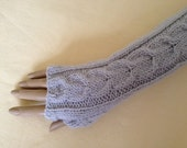 Fingerless Gloves Arm Wrist Warmers, Fog (silver grey), Luxury Hand Knitted Soft Merino Wool Extra Long Mittens 17 Colours