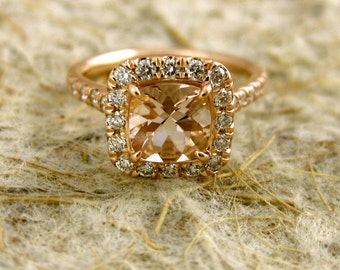 Peach Apricot Morganite Engagement Ring with Excellent Diamonds in 14K Rose Gold Size 4