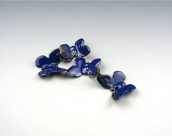 Enameled Butterflies / Cobalt Blue Enamel  / Made to order