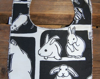 Black Rabbit bib with a snap Finland