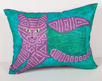 Pet Portrait Pillow- Cat Pillow- Teal and Purple Cat Pillow- Fishbelly- Cat art pillow- Throw pillow cat- by beckyzimm design