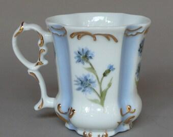 Hand Painted Bachelor Button Tea Mug