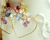 Heart Dangle Earrings, Statement Bridal Party Jewelry, Maltiple Gemstones, Romantic Jewelry