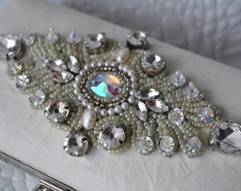 Wedding Clutch, Purse Swarovski Leather Italian Ivory Lambskin, Austrian Rhinestones, FREE SHIPPING, Luxury, TSARINA  TianaCHE