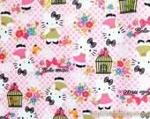 SALE Clearance Waterproof Nylon PVC Fabric-Lovely Pink Bow Hello Kitty Birdcage Little Bird Floral Garden (Fat Quarter)