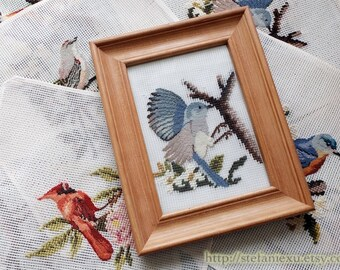 SALE CLEARANCE DIY Home Decor Framed Fabric, Wool Felt Cross Stitch Square Panel -Nature Wild Birds, Choose Pattern (1PCS, 11x11 Inches)