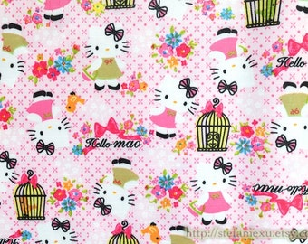 SALE Clearance Waterproof Nylon PVC Fabric-Lovely Pink Bow Hello Kitty Birdcage Little Bird Floral Garden (Fat Quarter)