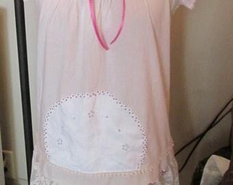 Upcycled tunic dress coverup ivory prairie boho vintage lace doily sz S-M mori girl one of a kind