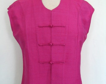 Sleeveless Hot Pink Raw Silk Mandarin Collar Top Size M