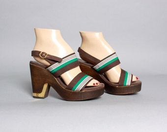Rare 70s Pierre CARDIN PLATFORMS / Strappy Open Toe Platform Wood Heels, 7