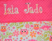 Personalized Baby Name Minky Blanket - You choose the fabrics