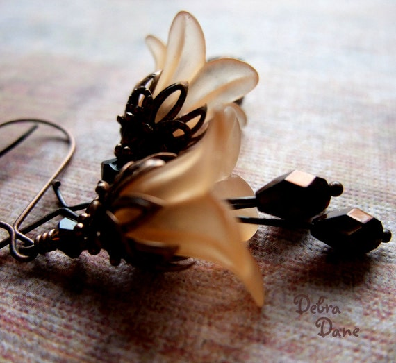 Copper Flower Earrings Fall Fashion Accessory