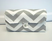 Cash Envelope Wallet  / Dave Ramsey System / ZIPPER Envelopes - Gray and White Twill  Chevron Zig Zag