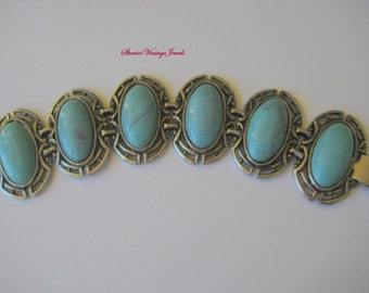 Chunky Bracelet Turquoise Silvertone  links 1950s Big and Beautiful