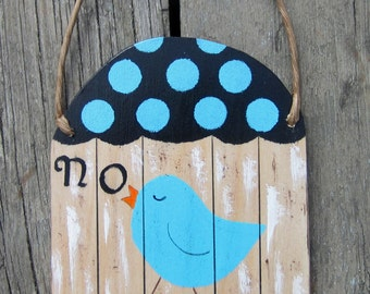 No Soliciting Sign Bluebird Cage - Hand Painted Wood