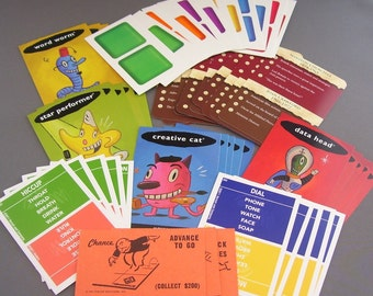 55 Assorted Cards From Various Board Games/Scrapbooking, Cardmaking, Collage, and Art Journaling Supply/Paper Destash