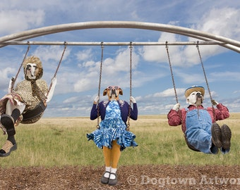 Swingset, large original photograph of Boxer dogs wearing clothes and playing on vintage swingset