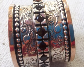 Spinner ring silver solid rose gold floral garnets jewelry Israeli rings Meditation rings Hippie jewely Garnets Ring