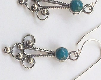 Sterling silver earrings Delicate Filigree israeli earrings set Eilat Stone. Sterling silver jewelry