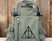 Large Canvas Backpack - Military Style Rucksack / Backpack - Hand Painted Art