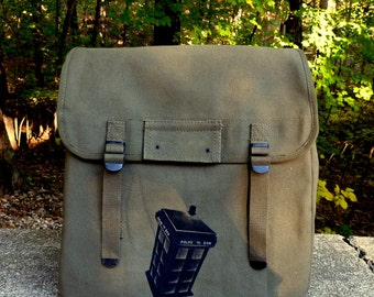 POLICE CALL BOX Large Canvas Backpack / Rucksack - Hand Painted