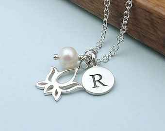 Personalized Silver Lotus Necklace - sterling silver, freshwater pearl, initial, yoga jewelry