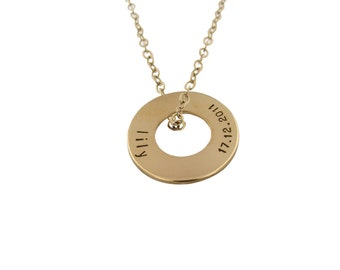 Gold NamePlate Washer / Custom 14K Name Disc Necklace / Personalized Hand Stamped Gold Jewelry for Women / New Mom Gift / Engraved Gold