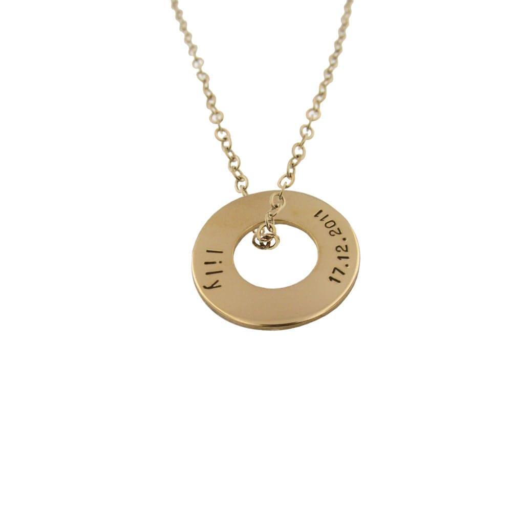 gold nameplate washer custom 14k name disc necklace. Black Bedroom Furniture Sets. Home Design Ideas