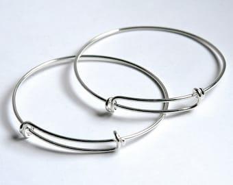 Sterling Silver Expandable Bangle Bracelet Adjustable Bangle
