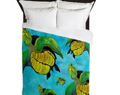Sea Turtle Family Duvet Cover from my art. Available in twin,queen and king sizes