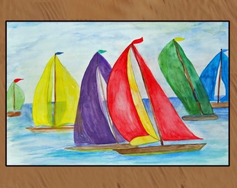 Regatta Colorful Sails Nautical Sailboats indoor-outdoor area rug,  Floor Mat. Available in 4 sizes