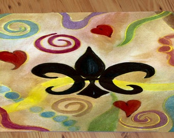 Fleur de lis and Hearts comfort foam floor mat from art. Available in 3 sizes