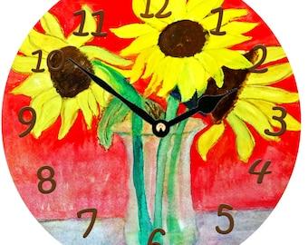 Sunflower Vase wall clock