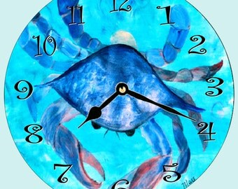 Blue Crab beach wall clock  from my art