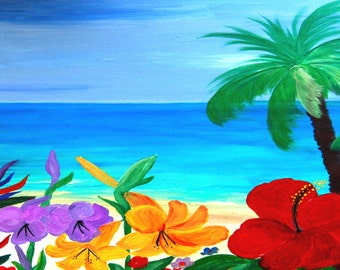 Tropical Beach, Bath or Hand Towels from my art