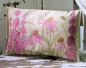 Cottage Painted Pillow Functional Art Pink Garden Flowers Bees Shabby Chic Home Decor Hand Painted Between The Weeds
