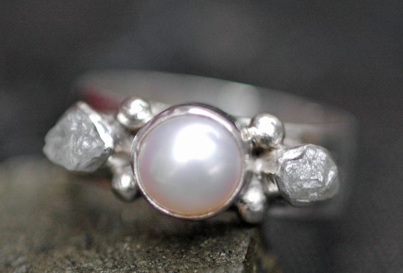 Rough Diamond and Pearl Engagement Band- Custom Made Custom Colour