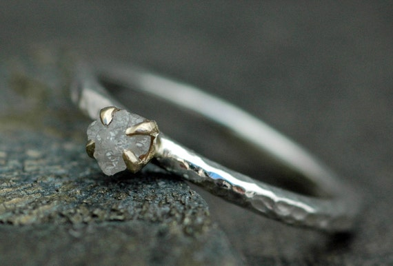 Prong-Set Rough  Diamond Stacker Ring in 14k White andYellow Gold Mixed Metal- Size B Diamonds