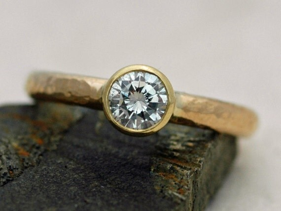 18k Recycled Hammered Gold White Brilliant Cut Diamond Solitaire Engagement Ring- Custom Made GIA Certified