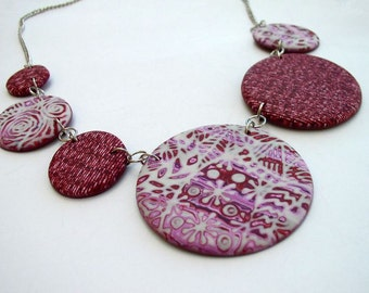 Asymmetrical Burgundy Circles Necklace -  Polymer Clay Circles