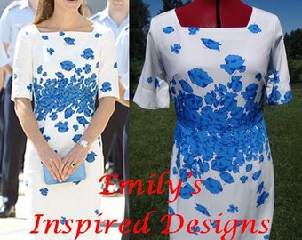 Duchess of Cambridge Kate Middleton Blue Poppy Print Dress