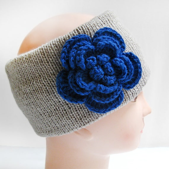 Knitted Headband Patterns With Flower : Items similar to Knitted Flower Headband, Knitted Headband, Winter Headbands,...