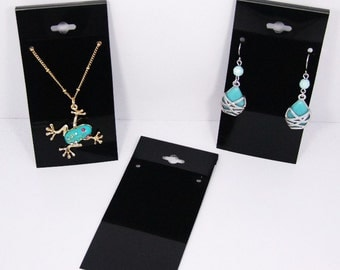 100 Pack Of Black Necklace or Long Earring Display Cards 4 Inch
