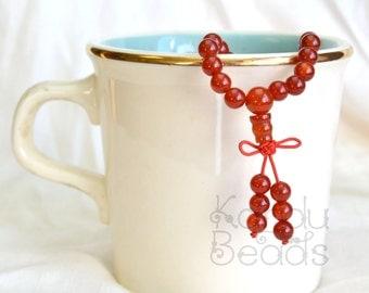 "Carnelian Agate Japa Mala Strand with Guru - Orange A Grade 6mm Round Beads 26"" Strand (109 beads)"