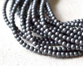 "Matte Hematite Round beads silvery black 2 or 3mm 15"""