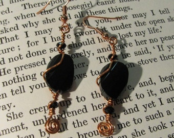 Item 2196 Copper wire wrapped black earrings