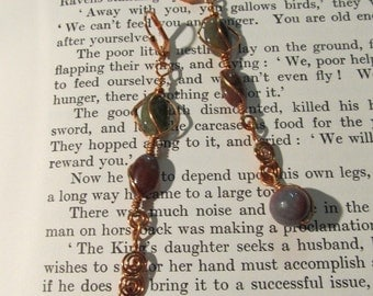 Item 2176 Jasper Copper wire wrapped earrings